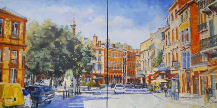 Place Dupuy - Painting,  31.5x63 in, ©2017 by Alain Muller -                                                                                                                                                                                                                                                                                                                                                                                                          Impressionism, impressionism-603, Cityscape, toulouse, place dupuy, place de toulouse, peinture, alain muller