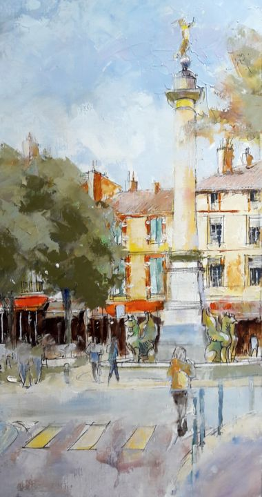 colonne - Painting,  18.1x9.1 in, ©2018 by Alain Muller -                                                                                                                                                                                                                                                                                                                                                                                                          Impressionism, impressionism-603, Cityscape, toulouse, place dupuy, colonne place dupuy, peinture huile toulouse, alain muller