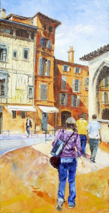 dalbade-vertical - Painting,  80x40 cm ©2014 by Alain Muller -                                            Impressionism, Canvas, toulouse, rue de la dalbade