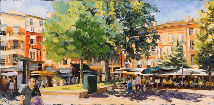 saint-georges-n-2.jpg - Painting,  15.8x31.5 in, ©2015 by Alain Muller -                                                                                                                                                                                                                                                                                                                                                              Impressionism, impressionism-603, Cityscape, place Saint Georges, Toulouse Saint Georges, peinture Toulouse, peinture huile
