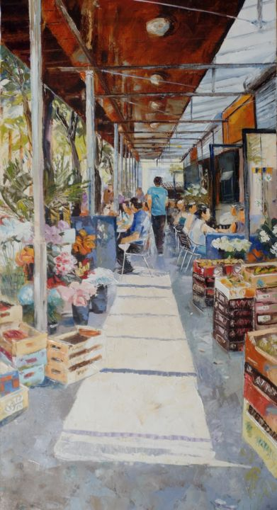 verriere-3.jpg - Painting,  39.4x19.7 in, ©2015 by Alain Muller -                                                                                                                                                                                                                                                                                                                                                                                                          Impressionism, impressionism-603, Cityscape, Toulouse marché des Carmes, les Carmes, marché de Toulouse, peinture huile, Muller Alain