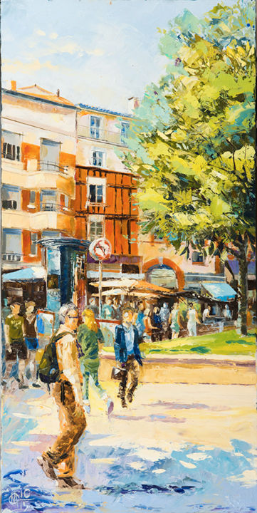 saint-georges-n-3.jpg - Painting,  80x40 cm ©2016 by Alain Muller -                                                            Impressionism, Canvas, Cityscape, Toulouse, Place saint georges, peinture huile, place de toulouse, alain muller