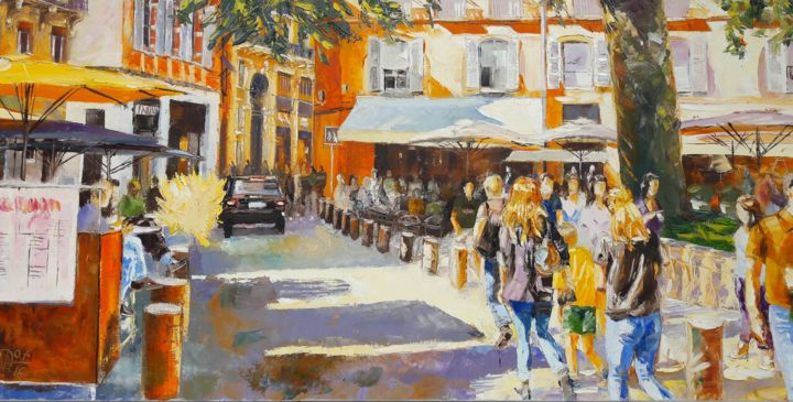Ombres-a-st-Georges-n-4 - Painting,  19.7x39.4 in, ©2016 by Alain Muller -                                                                                                                                                                                                                                                                                                                                                                                                          Impressionism, impressionism-603, Cityscape, TOULOUSE, PLACE SAINT GEORGES, PLACE TOULOUSE, PEINTURE HUILE, ALAIN MULLER
