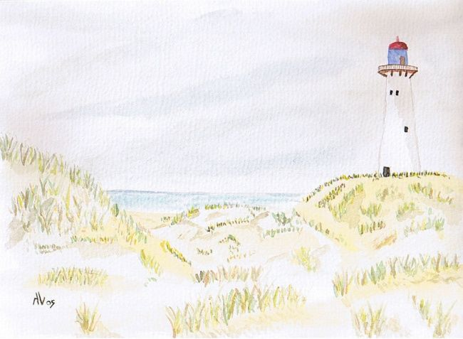 Le phare - Painting,  7.5x10.2 in, ©2005 by Alainv -
