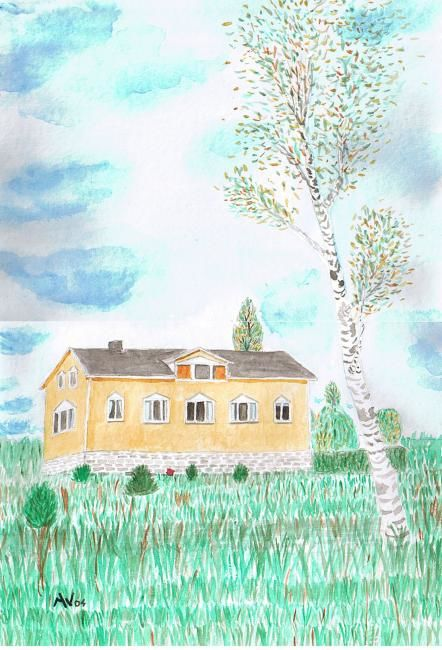 La maison jaune - Painting,  16.5x11.6 in, ©2004 by Alainv -