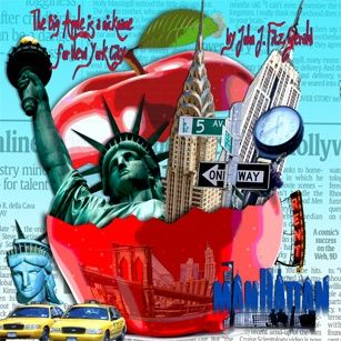 BIG APPLE - Collages,  37.4x37.4 in, ©2009 by Alan Berg -