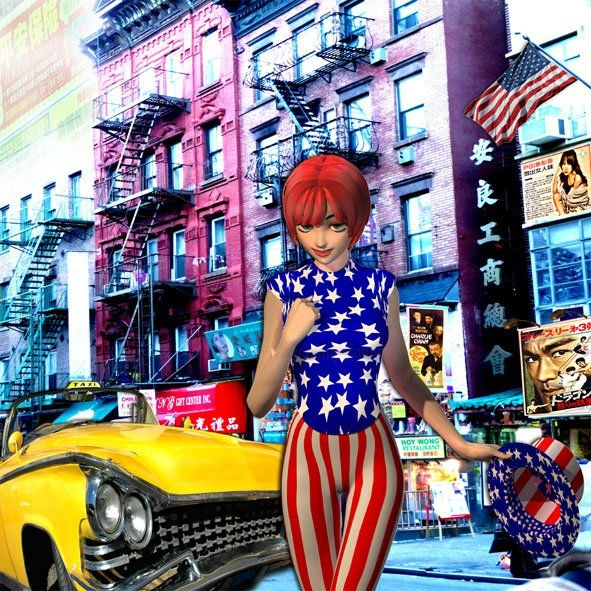 ChinaTown - Collages,  37.4x37.4 in, ©2009 by Alan Berg -