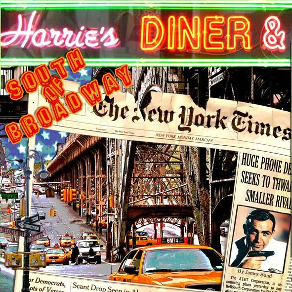 Harrie's Diner - Collages,  37.4x37.4 in, ©2009 by Alan Berg -