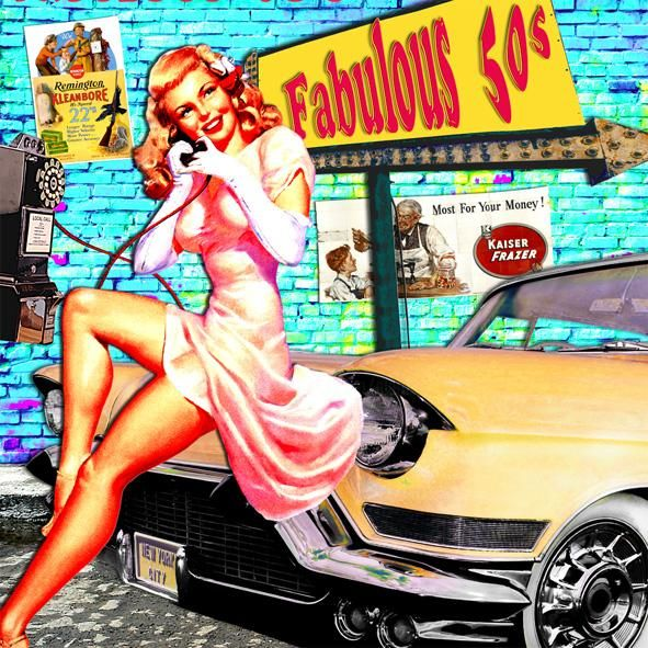 Fabulous 50'S - Collages,  37.4x37.4 in, ©2009 by Alan Berg -