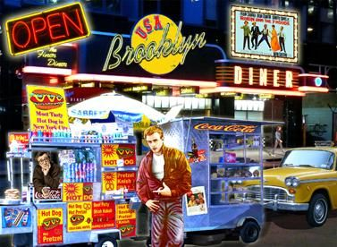 BROOKLYN DINER - Painting,  37.4x51.2 in, ©2010 by Alan Berg -
