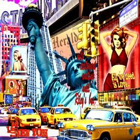 MISS LIBERTY - Painting,  37.4x37.4 in, ©2010 by Alan Berg -
