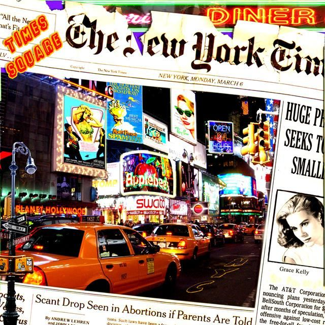 Times Square - Painting,  37.4x37.4 in, ©2011 by Alan Berg -