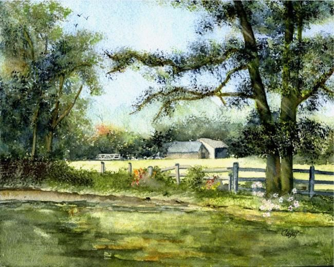Beyond The Fence Watercolor Paintings