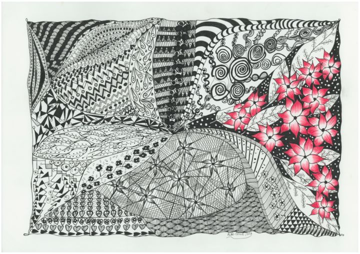 Espelhos - Drawing,  11.7x16.5 in, ©2017 by Ana Alão Colle Marques -                                                                                                                                                                          Naive Art, naive-art-948, Abstract Art