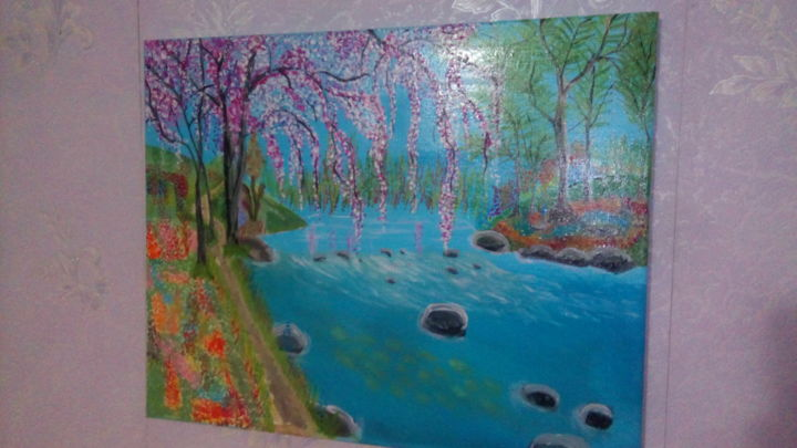"""Painting titled """"Fleuve tranquille"""" by Alban Cheval, Original Art, Acrylic"""