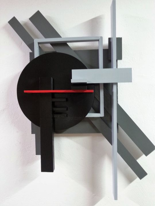 Alberto Simões de Almeida_Vermelho e negro_#16_99x80x20_2016 - Sculpture,  38.6x31.5x7.9 in, ©2016 by alberto simões de almeida -                                                                                                                                                                                                                                                                      Abstract, abstract-570, Wood, Abstract Art, Geometric