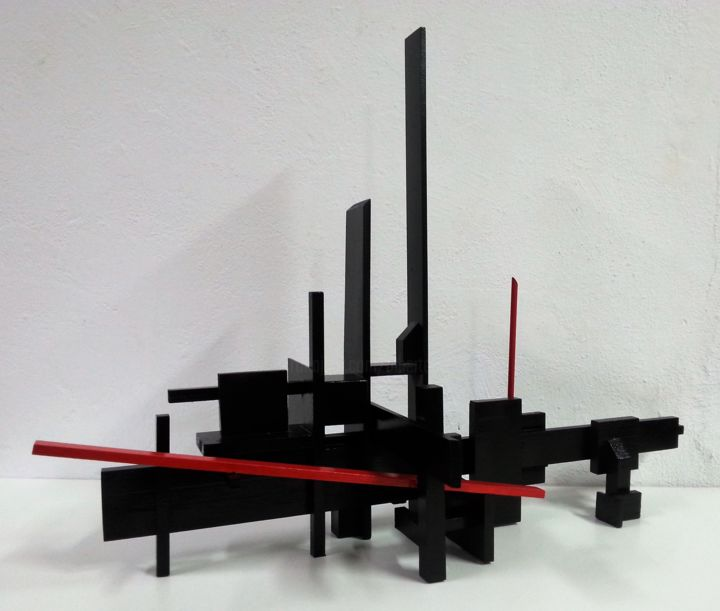Alberto Simoes de Almeida_Vermelho e negro_#17_60x86x27_2016 - Sculpture,  86x60x27 cm ©2016 by alberto simões de almeida -                                                                                            Abstract Art, Conceptual Art, Minimalism, Wood, Abstract Art, Geometric