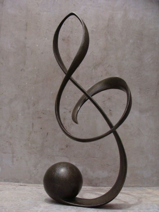 clé du soleil - Sculpture,  71x30x18 cm ©2018 by Alberto Kissola -                                                        Metal, Other, Music, chave, pauta