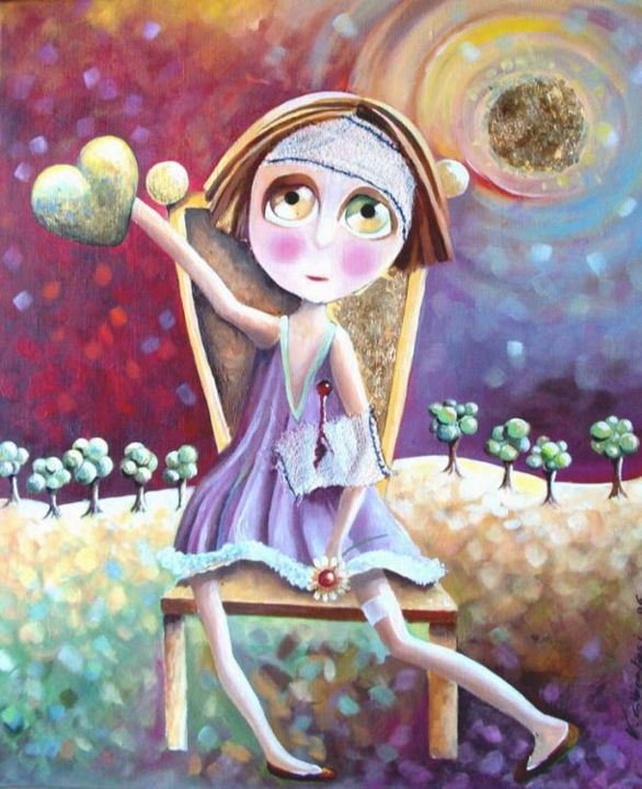 Baby solitude - Painting,  75x60 cm ©2006 by valerie ALBERTOSI -                            Contemporary painting, acrylique femme fille couleur poésie poétique tristesse coeur naif amour blessure moderne