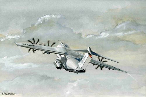 A400M - Painting,  30 cm ©2013 by Alain Delafosse -            avion, aéronef, aéronavale, marine, a400M, aviation