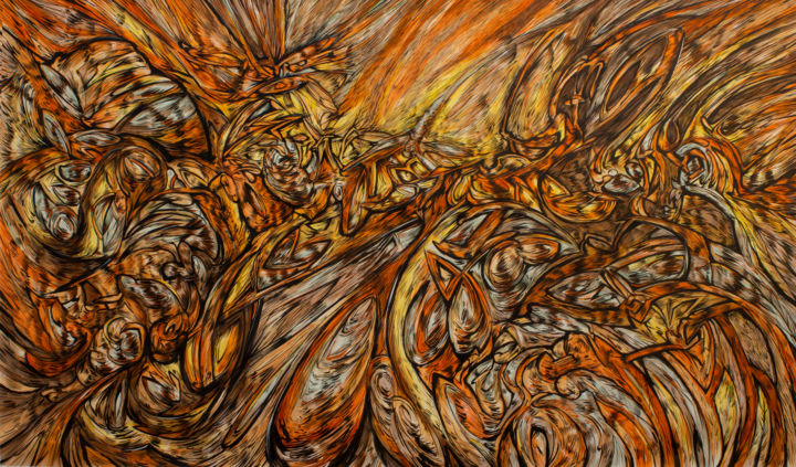 """Painting titled """"PAINTING n°6 - Fire…"""" by Alejandro Mendez, Original Art, Acrylic"""