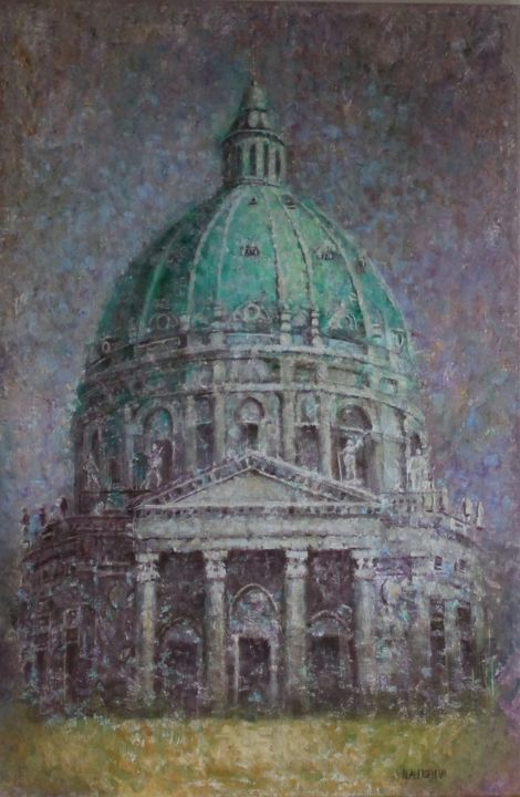 """Painting titled """"Frederik's church."""" by Natalieverve, Original Art, Oil"""