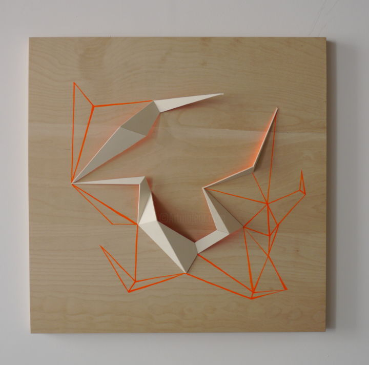 Guideline - Sculpture,  23,6x23,6x1,2 in, ©2019 par Aleksandra Petkovic -                                                                                                                                                                                                                                                                                                                                                                                                                                                                                                                                              Abstract, abstract-570, Géométrique, wall art, wall sculpture, contemporary art, fluo, triangle, acrylic, architecture, wood