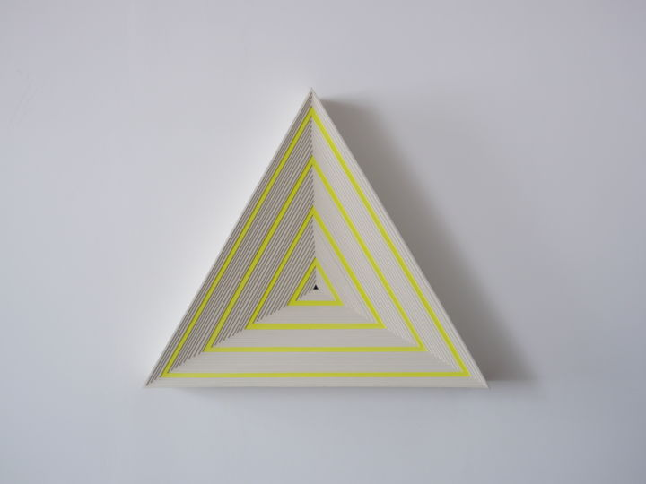 Violette - Sculpture,  24.2x27.6x3.9 in, ©2020 by Aleksandra Petkovic -                                                                                                                                                                                                                                                                                                                                                                                                                                                                                                                                                                                          Abstract, abstract-570, Geometric, wall art, wall sculpture, triangle, fluo, yellow, geometry, geometric, minimalism, light