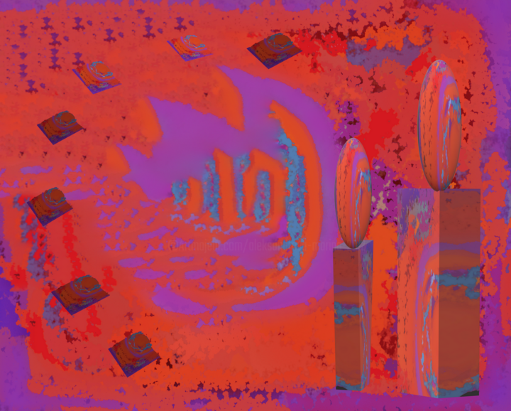 Violet-orange mirages - Digital Arts ©2019 by Marina Alexandrova -                                            Abstract Expressionism, Abstract Art, abstract expressionism