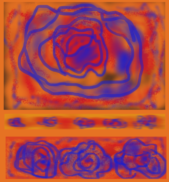 Blue flowers on an orange field - Digital Arts ©2019 by Marina Alexandrova -                                            Abstract Expressionism, Abstract Art, color fields, abstract flowers