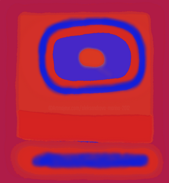 Blue flower on orange and red  fields - © 2019 color fields, abstract flowers Online Artworks