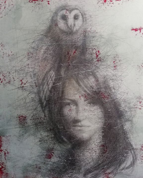 """Painting titled """"Girl with an owl"""" by Sasha Tsyganov, Original Art, Oil"""