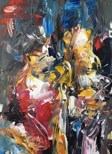 """Painting titled """"Abstract figures 2.…"""" by Alen Sirbubalo, Original Art, Acrylic Mounted on Stretcher frame"""