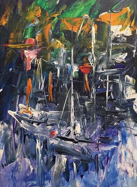 """Painting titled """"Abstract sailboats…"""" by Alen Sirbubalo, Original Art, Acrylic Mounted on Stretcher frame"""