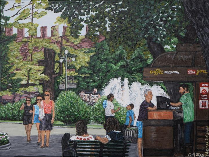 """Painting titled """"In einem Park in Ve…"""" by Alena Drisner, Original Art, Acrylic"""