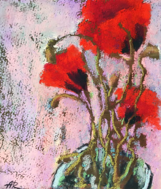 Pastel Drawing Poppies Flowers - Drawing,  20x23.5x0.1 cm ©2019 by Alena Rumak -                                                                        Impressionism, Paper, Flower, Still life, flowers, still life, poppies, pastel drawing