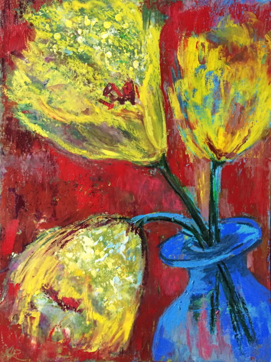 Unidentified Flowers - Drawing,  15.8x11.8 in, ©2019 by Alena Rumak -                                                                                                                                                                                                                                                                                                                                                                                                          Abstract, abstract-570, Flower, flowers, still life, expressive, painting, abstract