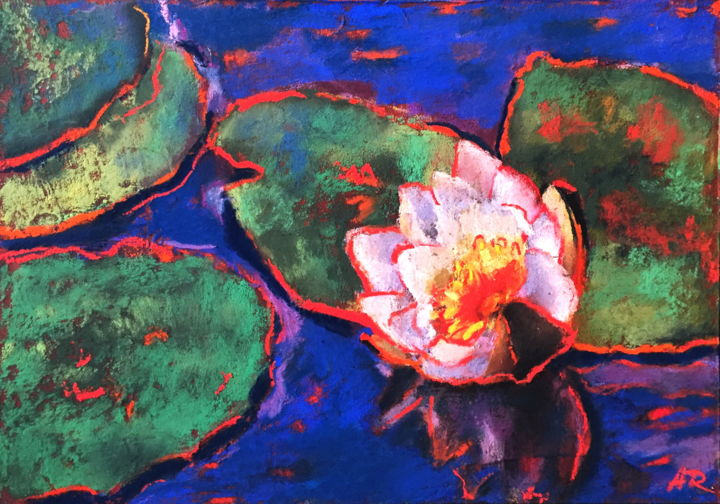 White Pond-Lily - Drawing,  8.3x11.8 in, ©2019 by Alena Rumak -                                                                                                                                                                                                                                                                                                                                                                                                                                                                                                                                                                                                                                      Impressionism, impressionism-603, Flower, Landscape, Water, lily, water lily, flowes, floral, impressionism art, art for sale, pastel, drawings