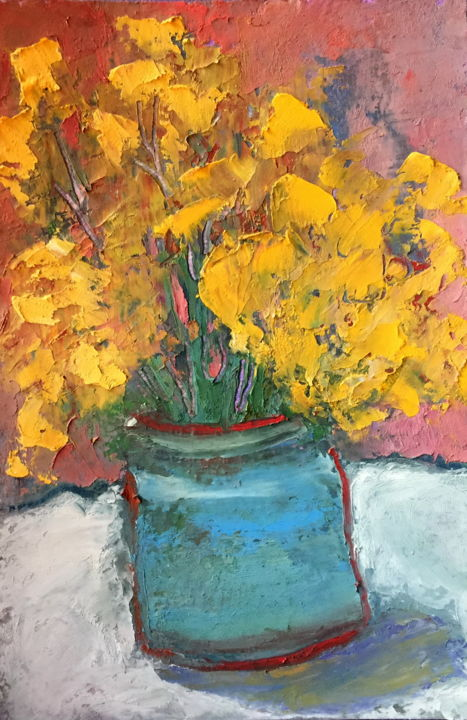 Still life Bouquet Of Yellow Flowers - Painting,  6.7x4.7x0.1 in, ©2019 by Alena Rumak -                                                                                                                                                                                                                                                                                                                                                                                                                                                                                                                                                                                                                                                                                                                                                                          Impressionism, impressionism-603, Flower, Still life, art, painting, drawing, flowers, yellow, still life, expressive, impressionism, oil pastel, vase with flowers, art for sale, art lovers