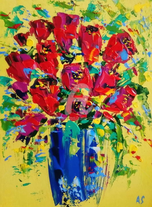 Abstract tulips - Painting,  40x30x0.2 cm ©2017 by Alena Shymchonak -                                                                                                Abstract Art, Impressionism, Expressionism, Other, Botanic, Flower, tulips flower paintings, floral paintings, abstract floral artwork