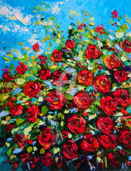 Rose bushes - Painting,  19.7x15.8x0.3 in, ©2017 by Alena Shymchonak -                                                                                                                                                                                                                                                                                                                                                                                                                                                          Abstract, abstract-570, Other, Botanic, Flower, Still life, roses oil paintings, red roses artwork, flowers oil paintings