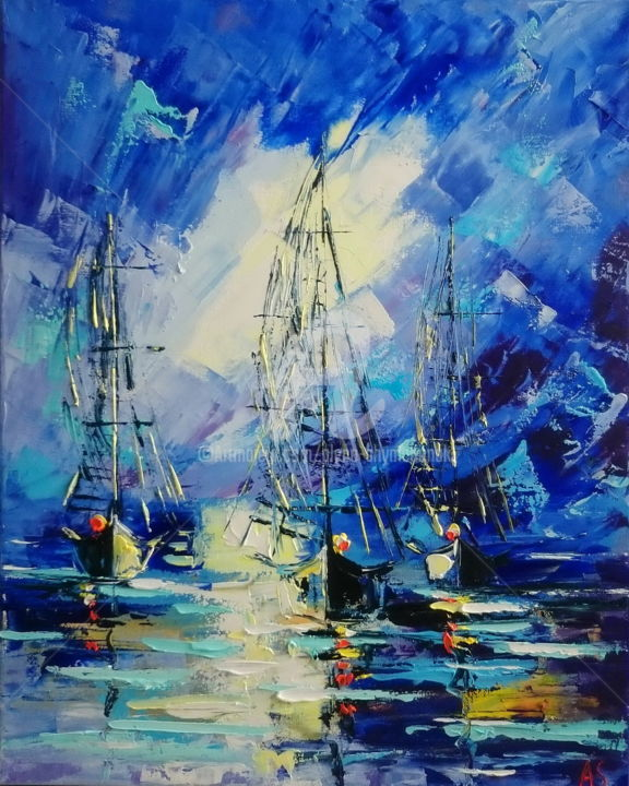 Purple seascape - Painting,  50x40x1.7 cm ©2017 by Alena Shymchonak -                                                                                                                                Abstract Art, Abstract Expressionism, Expressionism, Impressionism, Abstract Art, Boat, Sailboat, Seascape, Ships, original seascape painting, abstract seascape artwork, sailboats oil paintings, shipd paintings
