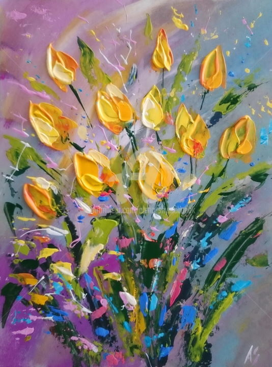 FAVOURITE YELLOW TULIPS - Painting,  15.8x11.8x0.1 in, ©2017 by Alena Shymchonak -                                                                                                                                                                                                                                                                                                                                                                                                                                                          Abstract, abstract-570, Other, Botanic, Flower, Still life, tulips paintings, yellow tulips artwork, flowers paintings