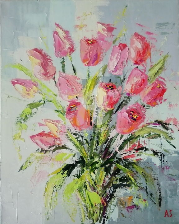 Pink tulips - Painting,  50x40x1.7 cm ©2017 by Alena Shymchonak -                                                                                                            Expressionism, Impressionism, Realism, Canvas, Botanic, Flower, Still life, yulips oil paintings, tulips, tulips flowers, bouquet of tulips
