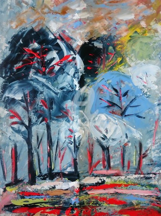 SCANDI TREES - Painting,  40x30x0.2 cm ©2017 by Alena Shymchonak -                                                                                                                        Abstract Art, Conceptual Art, Contemporary painting, Impressionism, Other, Abstract Art, Landscape, Tree, original trees painting, trees artwork, abstrcat trees art