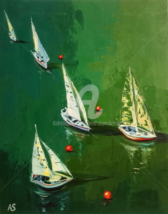 INSTANT; ORIGINAL SEASCAPE OIL PAINTING, FRAMED - Painting,  19.7x15.8x0.1 in, ©2017 by Alena Shymchonak -                                                                                                                                                                                                                                                                                                                                                                                                                                                          Impressionism, impressionism-603, Other, Boat, Sailboat, Seascape, seascape painting, sailboats painting, ships oil painting