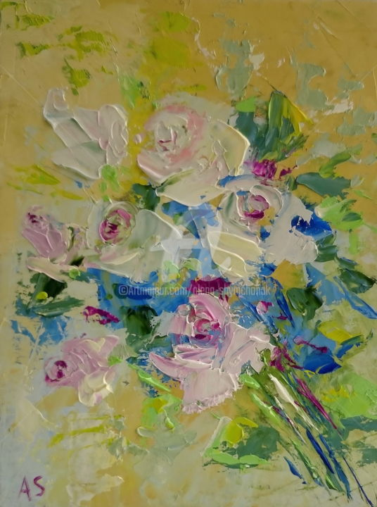 LIGHT PINK ROSES; GIFT IDEA; ORIGINLA OIL PAINTING - Painting,  24x18x0.2 cm ©2017 by Alena Shymchonak -                                                                                                                    Abstract Art, Expressionism, Impressionism, Realism, Other, Botanic, Flower, Still life