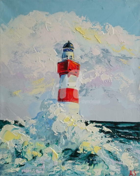 LIGHTHOUSE; ORIGINAL OIL PAINTING - Painting,  19.7x15.8x0.7 in, ©2017 by Alena Shymchonak -                                                                                                                                                                                                                                                                                                                                                              Expressionism, expressionism-591, Landscape, Seascape, original lighthouse painting, seascape painting, sea and lighthouse art