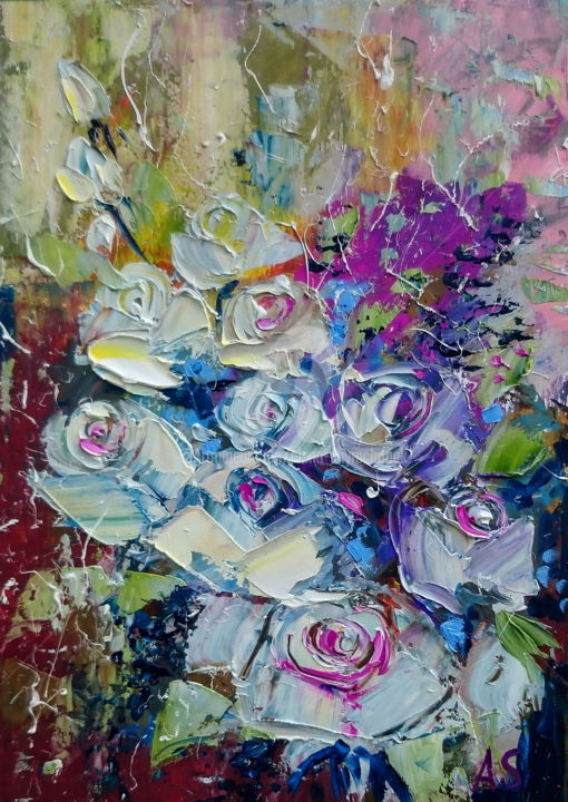 ROSES FOR YOU; GIFT IDEA; ORIGINAL OIL PAINTING - Painting,  29.7x21x0.1 cm ©2017 by Alena Shymchonak -                                                                                                                                    Abstract Art, Abstract Expressionism, Conceptual Art, Impressionism, Paper, Abstract Art, Botanic, Flower, Still life, roses oil painting, abstract flowers artwork, bouquet of roses