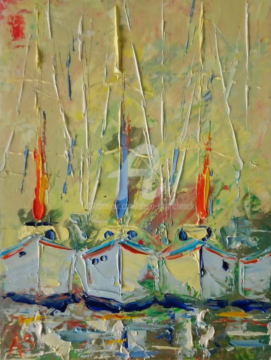Ships 2 Gift Idea Original Knife Oil Painting Painting By Alena Shymchonak Artmajeur